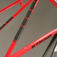 Custom Extralite Steel Road Frame w/ Custom Gloss Red & Matte Black Liquid Paint.