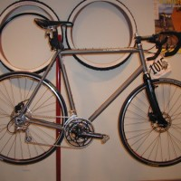 """This my custom Ti frame with disc brake tabs for cross and road racing as well as my daily commuter. Otherwise known as a """"Montana Road Bike"""". Words cannot describe how well this bike handles."""