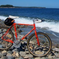 I've really been enjoying the all-rounder frame that you built for me a couple years ago now. I took a summer getaway trip around Maine and thought you might enjoy a picture… especially with your moto interests. I think I've created the world's first V-Strong! Both bikes ride great! Hope that you are well…