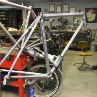 This frame has a new option I'm offering. The rear triangle is stainless. That will allow us to keep the stays unpainted giving the frame a really cool traditional look. I'll post the full build once it's back from paint.