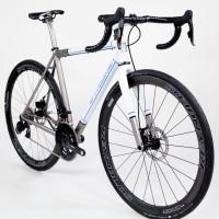Titanium gravel bike with Sram eTap, Reynolds Attack and Black Magic paint.