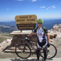 Paula's titanium Strong frame takes her to the top of the 14,130 foot Mt Evans.