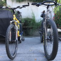 Sent in from Ned of New Orleans. Pics of his recently purchased 29er+ along with his 2001 26″ MTB.