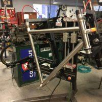 Custom Blend Titanium gravel bike with flat mount brakes. Sent to Ren in Piedmont CA.