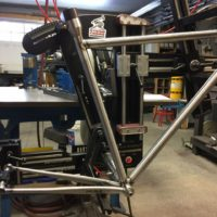 Classic steel race frame. This frame even has a 1.125″ headtube for an Enve 2.0 straight steerer and QR dropouts.