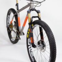 Titanium 27.5″ Plus with SRAM Eagle and Fox 34. See more mountain bikes in our mountain bike gallery.