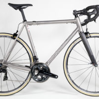 Just shipped to Eric in my home town of Seattle. Titanium Road with Dura Ace 9100 Di2. Eric is a pilot and travels with his bike a lot. So we added S&S couplings to make it easy to take along. You can see more road bikes in our road gallery here.