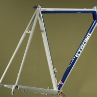 Custom Grey, Blue and Silver Powdercoated Steel Road Frame