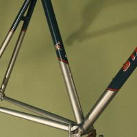 Custom Titanium Road. Custom Grey Blue Powdercoat with airbrushed Red and Silver graphics.