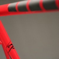 Custom Extralite Steel Road Frame w/ Custom Gloss Red & Matte Black Liquid Paint.