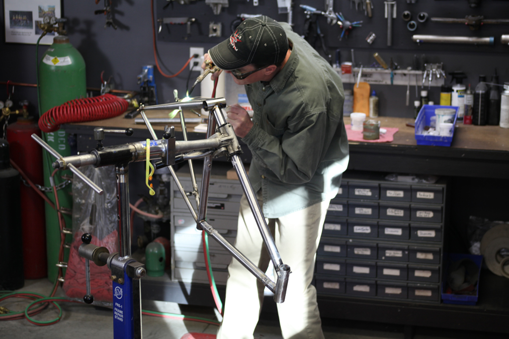 I may be known for TIG welding, but like any frame builder worth their salt I am adept at brazing as well. Cable stops, water bottle bosses and other small parts are silver brazed on all steel frames.