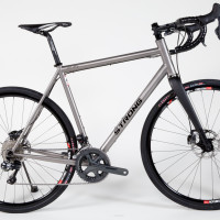Titanium gravel bike with Shimano Di2 and hydro brakes.
