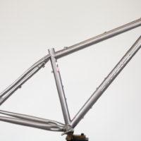 Custom Blend titanium 27.5 Plus. 73mm BB with Boost spacing.
