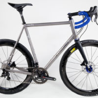 Double Butted Titanium Road with Campy Super Record and the new H11 disc brakes and crank.