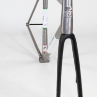Titanium road frame with brushed finish and panels