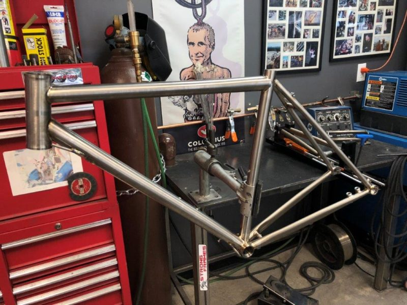 Titanium gravel bike. We'll be building it with a custom Shimano Ultegra Di2, White Industries gruppo and Rodeo Labs Spork.