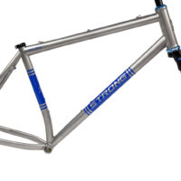 Titanium single speed or geared 29er. Using sliders we can change from inserts for geared or single speed. We also have the flexibility to run Rohloff, QR or through axle.