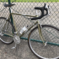 1999 Strong frame and steel fork,Custom blend, found on eBay in 2018. Added 11speed White industries wheel set , Sugino triple 11 speed crankset, Microshift 11 speed index barcon shifters. Chris King 2Nut headset , Nitto heat-treated noodle h-bars,Campy seat post, brakeset.Fun to build up , rides snappy but smooth. Ed in Ventura California.