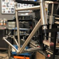 Titanium disc road built with internal brake, internal Di2 and integrated headset